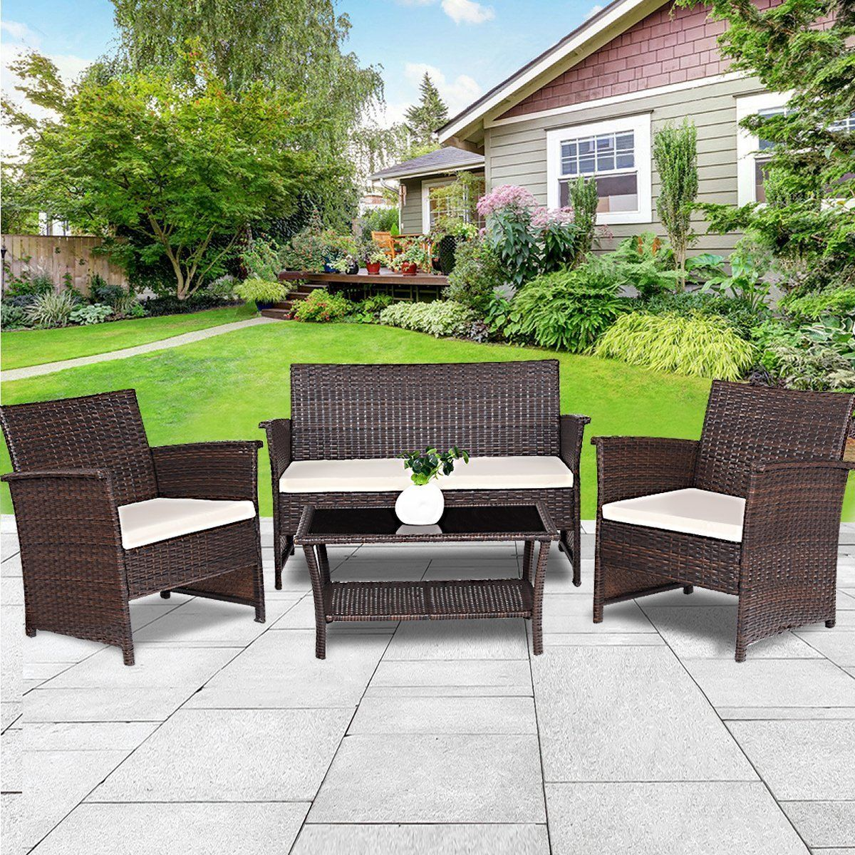 Tangkula Outdoor Patio Furniture 4 Piece Cushioned Sofa And Coffee