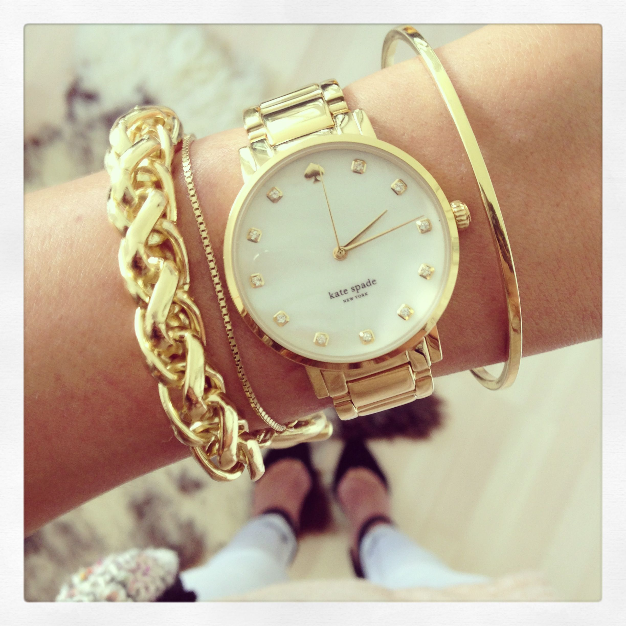 Kate Spade metro watch I dont usually wear yellow gold but Id