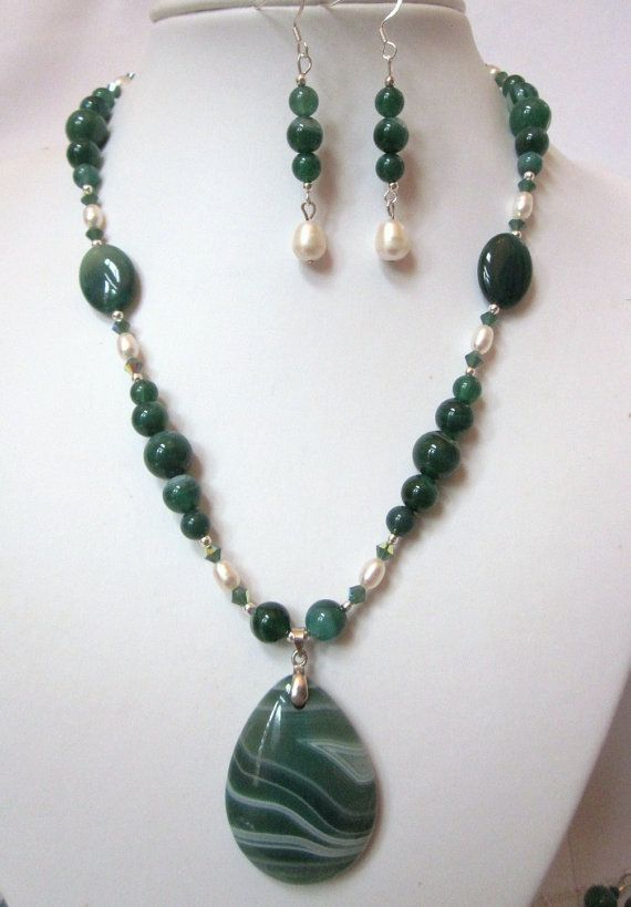 Bold, Beautiful Necklace of Gorgeous Green Striped Agate, Swarovski Crystals and White Fresh Water Pearls and Tear Drop Pendant