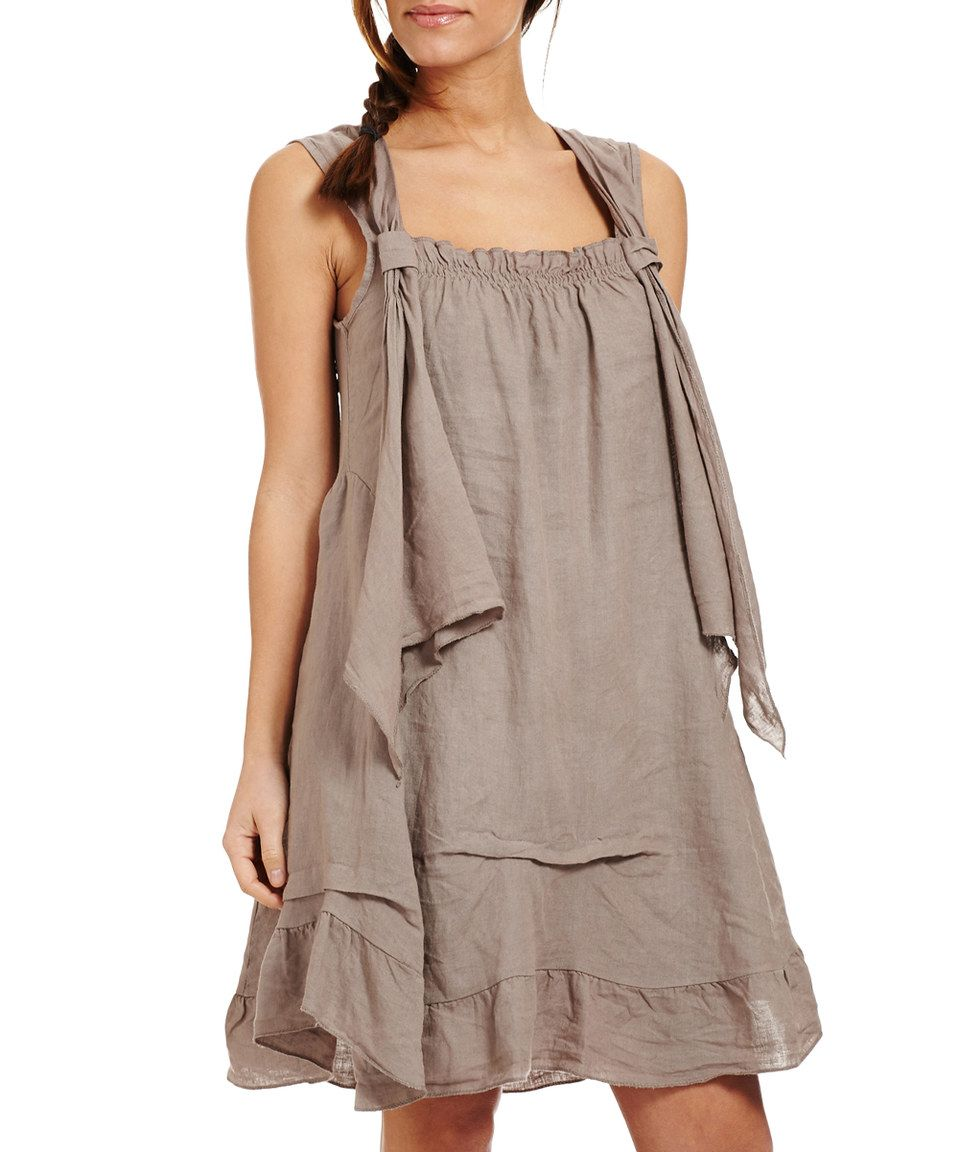 Loving this Couleur Lin Taupe Ruffle Linen Sleeveless Dress on ...