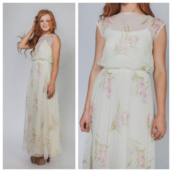 Vintage dress/ SHEER MAXI 70s floral pastel hippie by Raxclothing ...
