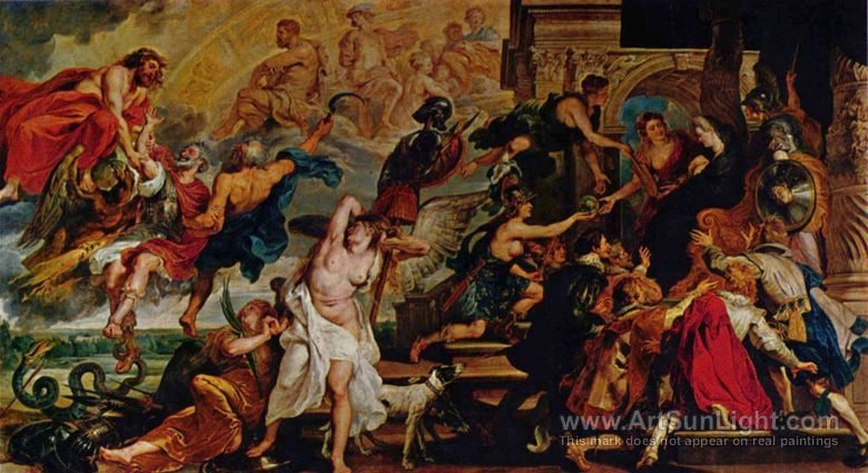 María de Médici, mecenas reconocida en la vida parisina, dio trabajo a Nicolas Poussin y Philippe de Champaigne en la decoración del Palacio de Luxemburgo, y encargó numerosas pinturas a Guido Reni y especialmente a Rubens, al que hizo ir a ¨Amberes para la ejecución de una galería de pinturas dedicadas a su vida. Actualmente quedan 22 cuadros conservados en el Museo del Louvre