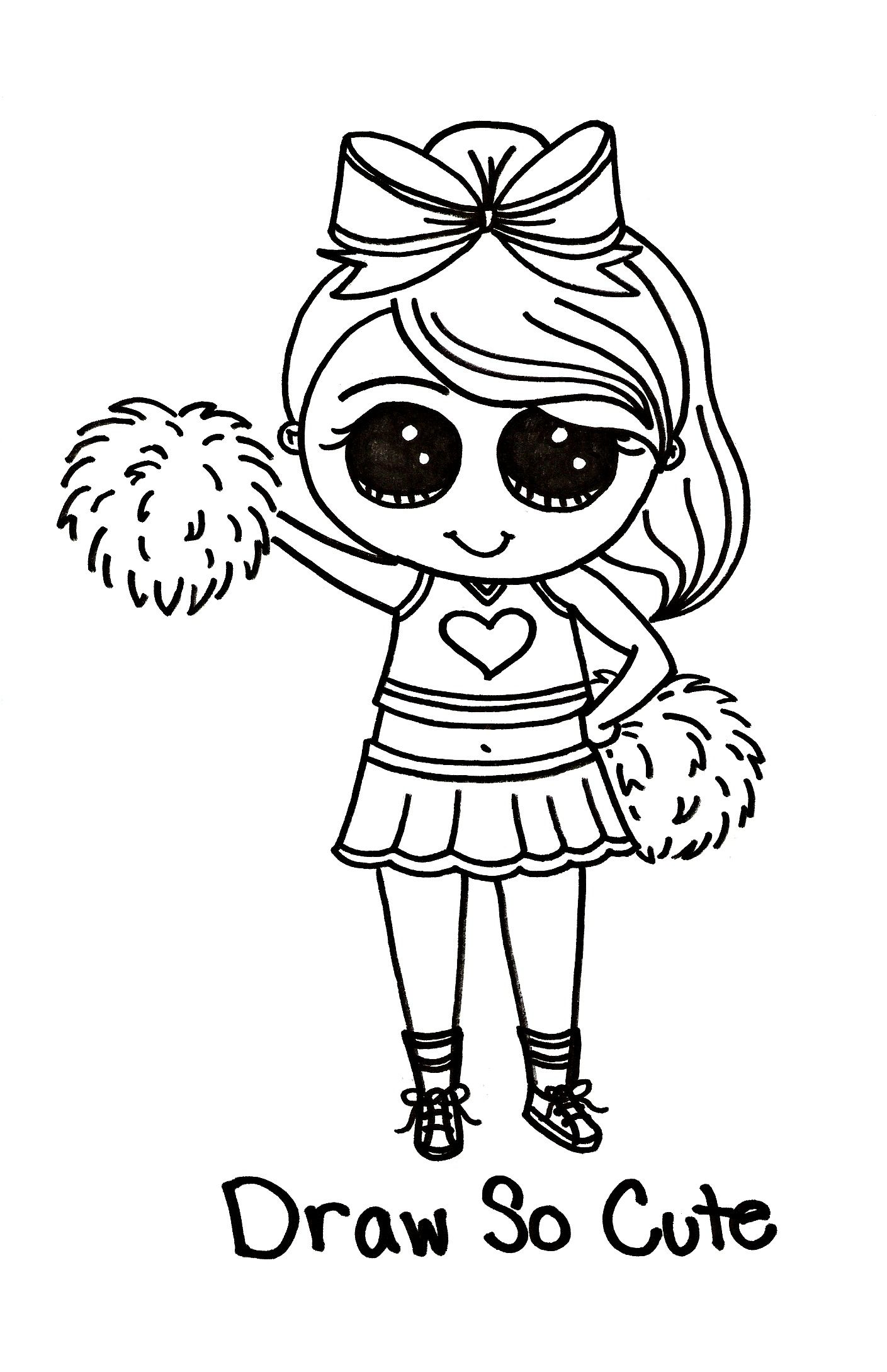 Draw So Cute Cheerleader - Tipsy Scribbles - A picture says a
