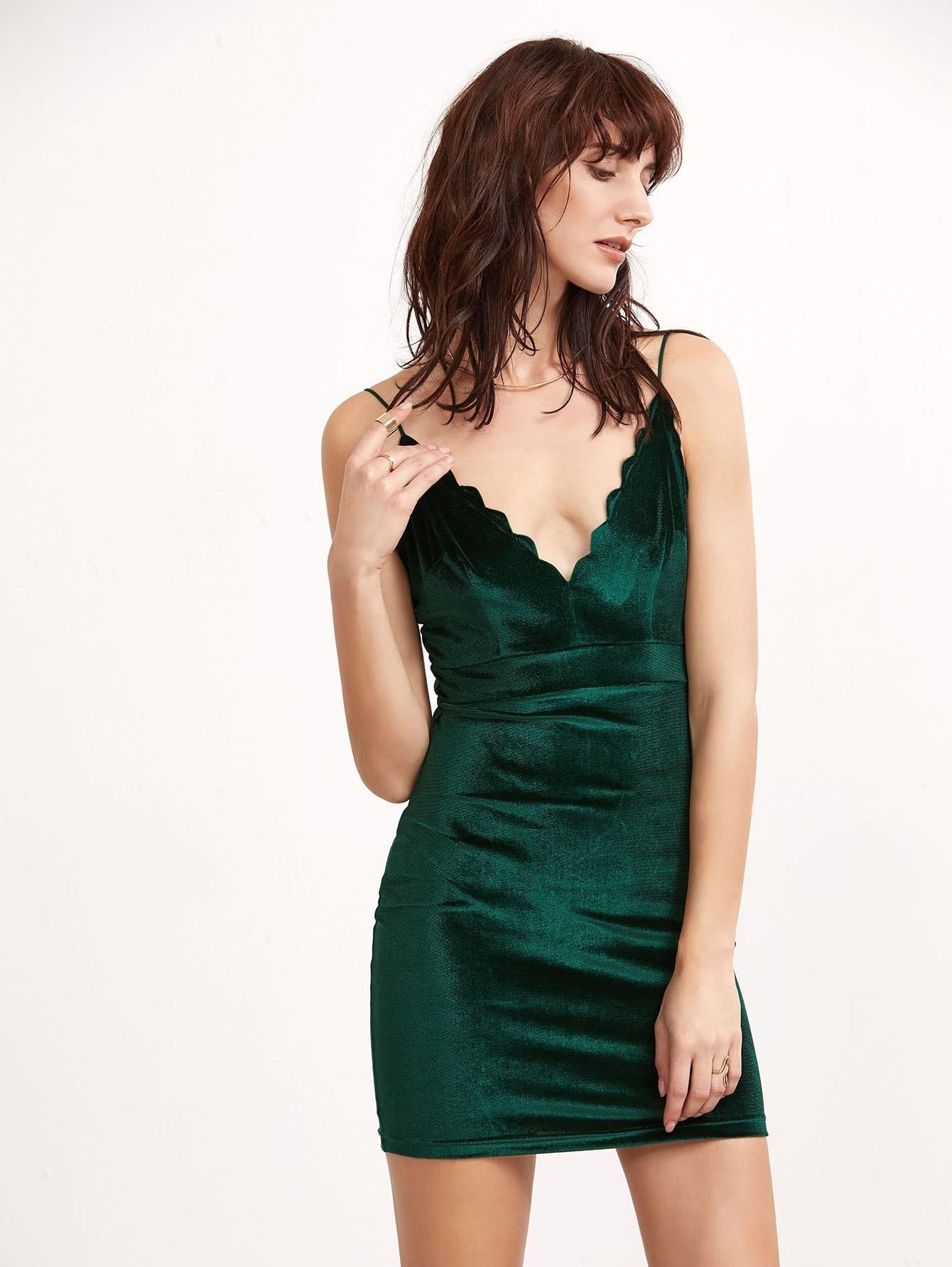 Green scallop deep v neck velvet cami bodycon dress pinterest