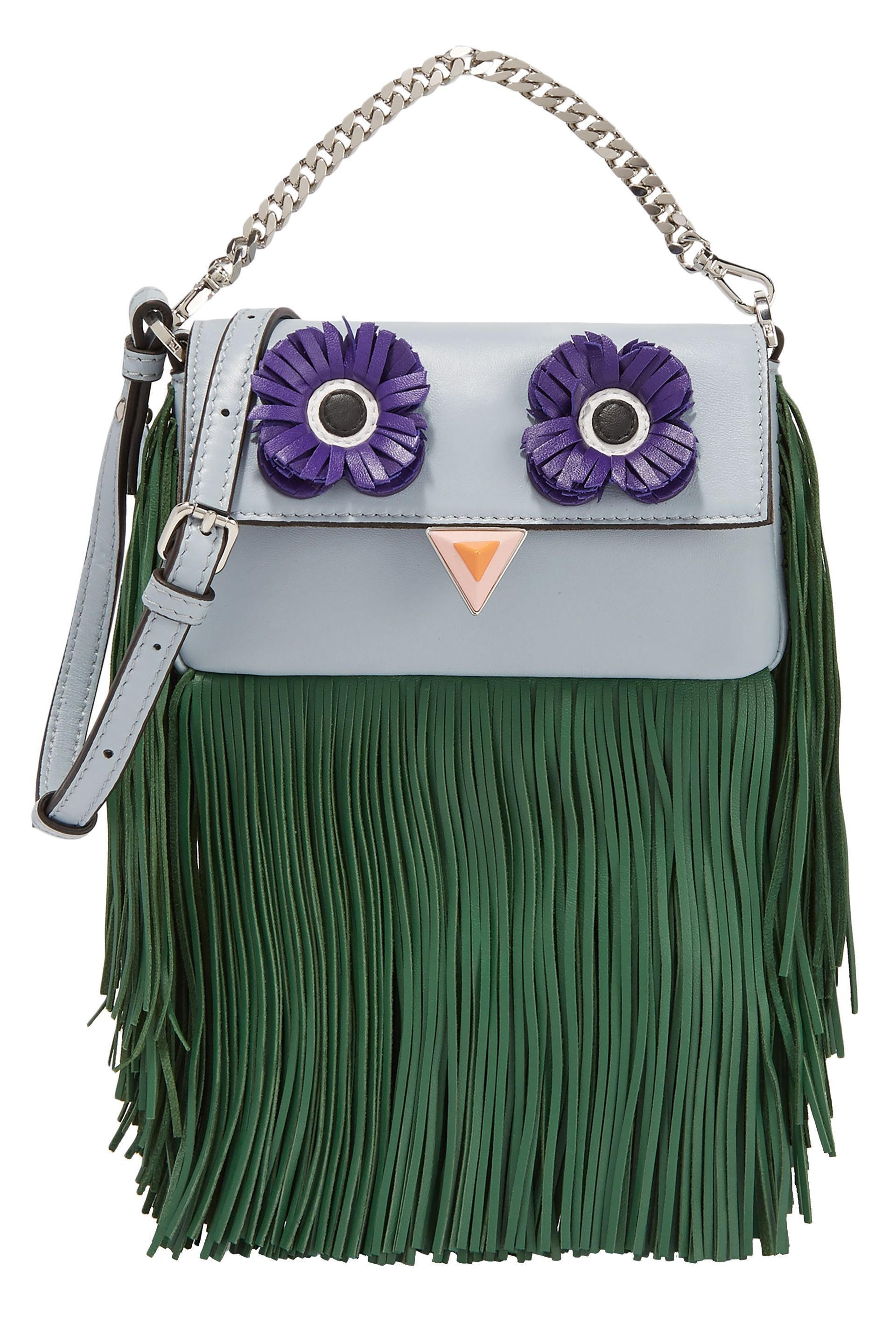 Appliquéd fringed leather shoulder bag  526026ebb2eb4