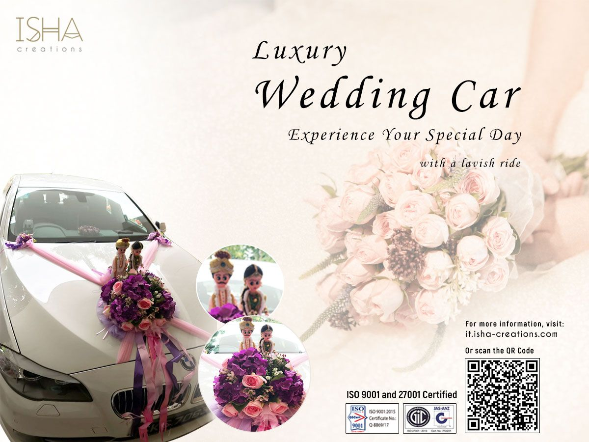 Wedding car flower decoration images  Luxury Wedding Car Rental of BMW i Series with Decoration and