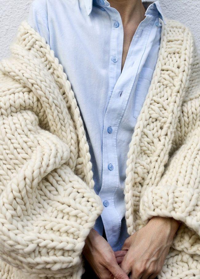 Veste laine grosse maille homme