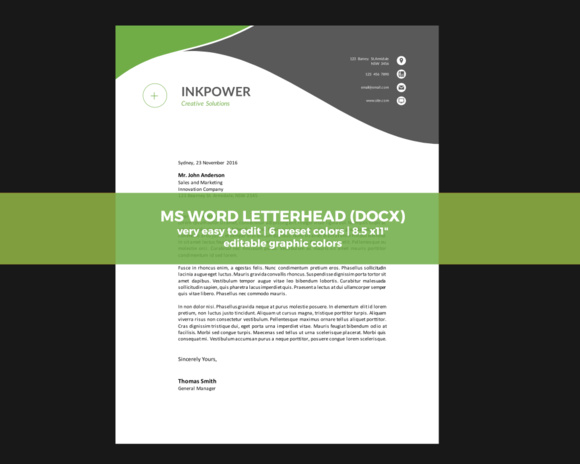 Ms Word Docx Letterhead Templates By Inkpower On Creative Market