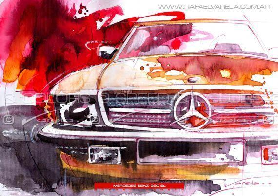 Ich habe eine Skizze eines Vintage-Mercedes gemacht, aber dieser Druck eines Aqu…