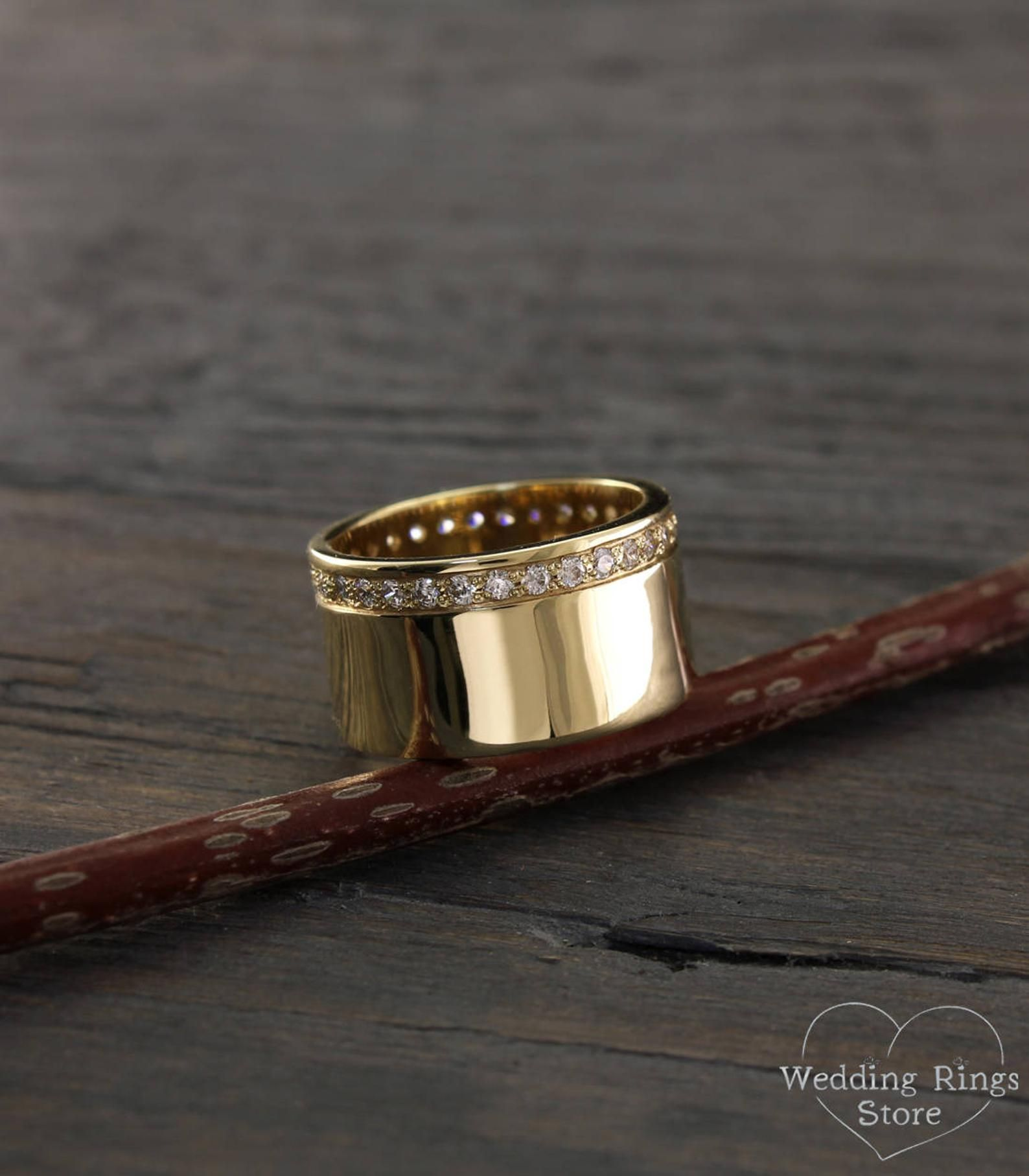 Traditional wide eternity woman's wedding band with diamonds made in 14k solid yellow gold