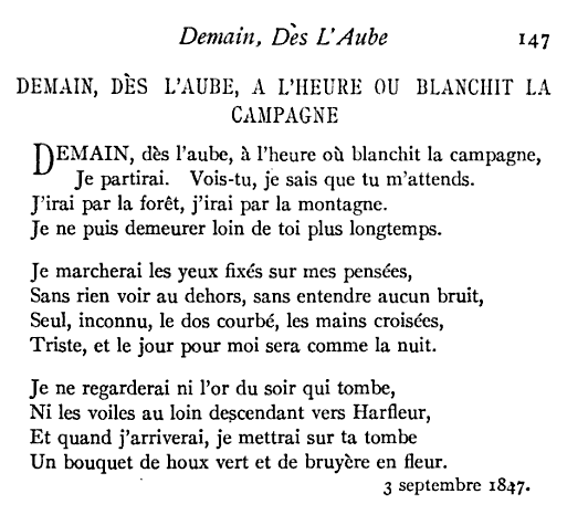 Demain Des Laube By Victor Hugo I Memorized This One In