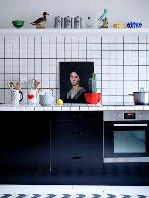 Cuisine Carrelage Blanc Joint Noir Julie Ansiau Via Nat Et Nature Deco D Interieur Bon Marche Cuisine Americaine Deco Maison