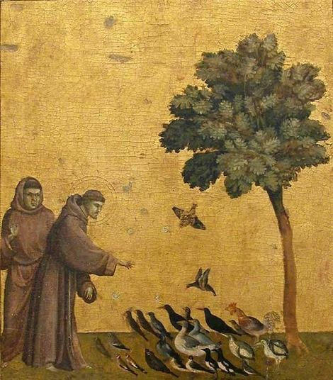 Giotto di Bondone, St. Francis Preaching to the Birds started 1295