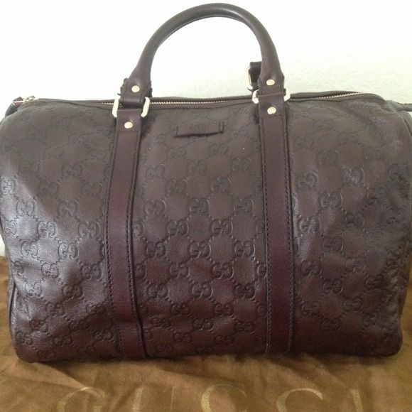 5e76d5bce GUCCI JOY MEDIUM BAG - GUCCISSIMA BROWN LEATHER Guccissima brown Leather Boston  Purse Authentic Gucci Boston