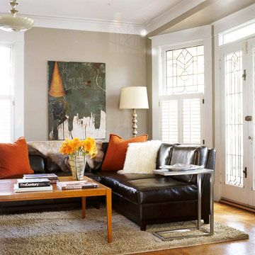 14 Unexpected Ways To Upgrade Your Living Room Living Room Colors Brown Living Room Decor Black Leather Couch