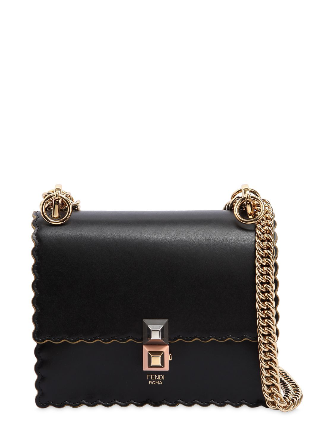 58be5d823f0d FENDI SMALL KAN I SCALLOPED LEATHER BAG.  fendi  bags  shoulder bags   lining  suede