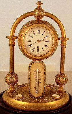 Antique gilt clock with thermometer and engraved gilt case set with turquoise and cameos c. 1870