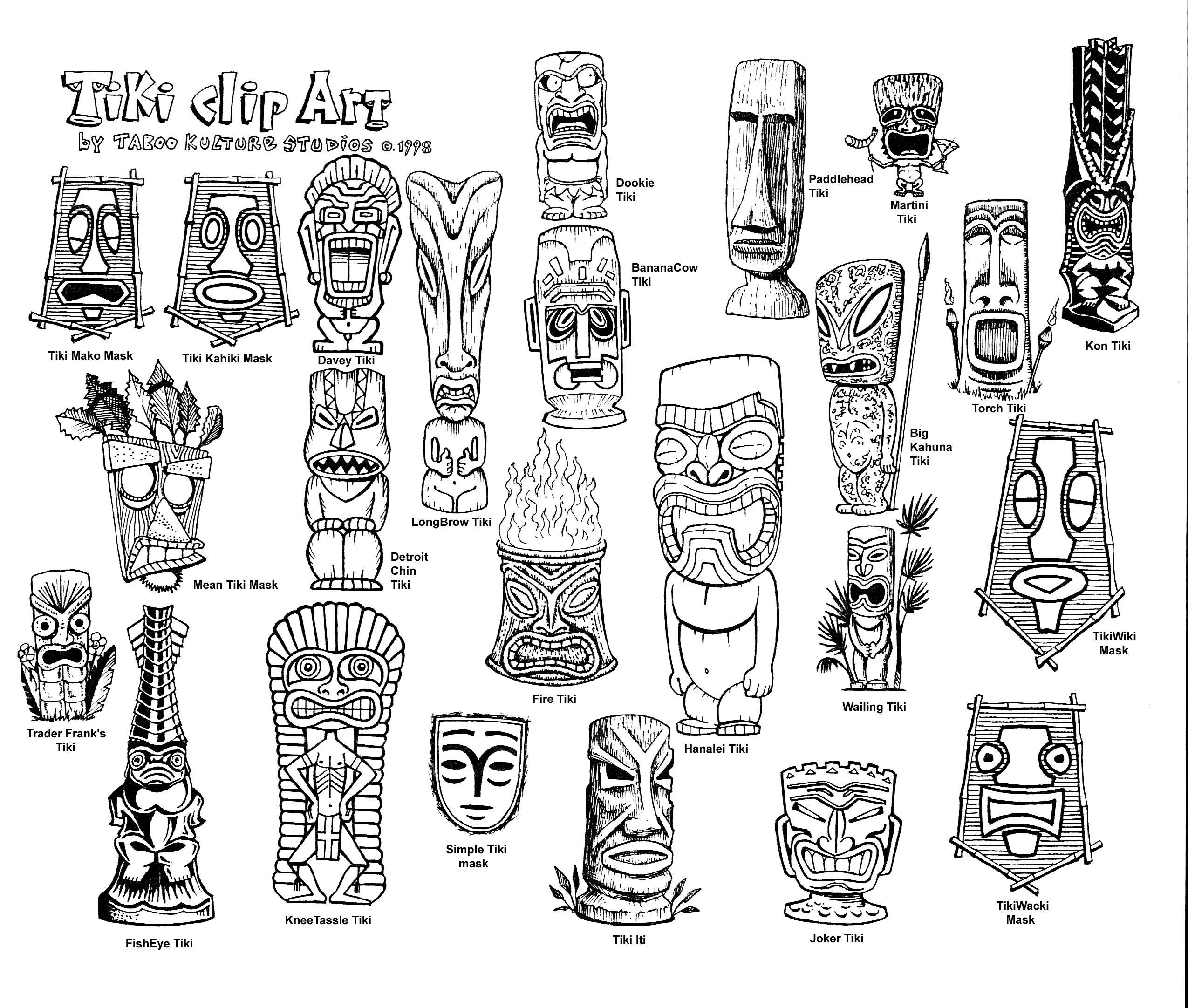 Tiki Hawaiian Mask Clip Art - Tiki Drawings - Free Transparent PNG Clipart  Images Download