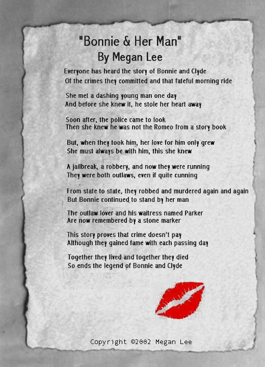 A cool poem about Bonnie and Clyde. WANTED DEAD OR IN