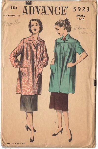 Vintage 1950s Ladies Long Or Short Sleeve Smock Advance Sewing