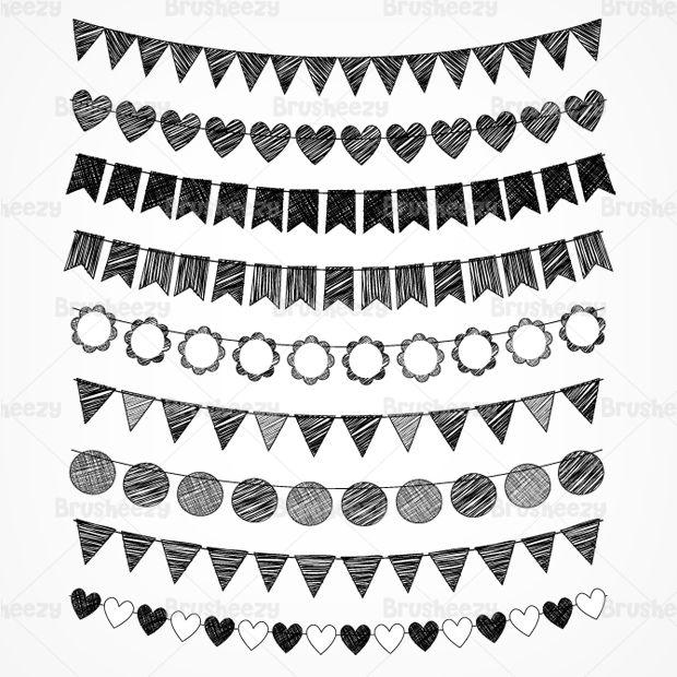 Hand drawn doodle bunting set #doodle #design
