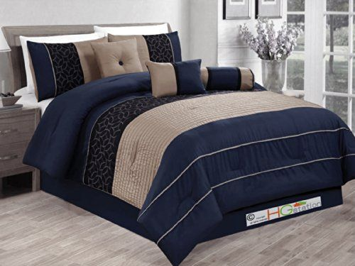 7 Pc Pleated Striped Embroidered Medallion Geometric Circle Diamond Comforter Set Navy Blue Black Khaki Comforter Sets Modern Comforter Sets Blue Bedding Sets Brown and blue king size comforter sets