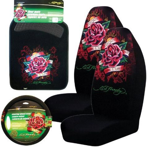Ed Hardy Dedicated To The One I Love Set Seat Covers Floor Mats Steering Wheel Cover 2 Bucket
