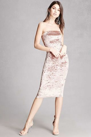 6b1820820f A crushed velvet tube dress featuring a sleeveless cut and a bodycon  silhouette. This is an independent brand and not a Forever 21 branded item.