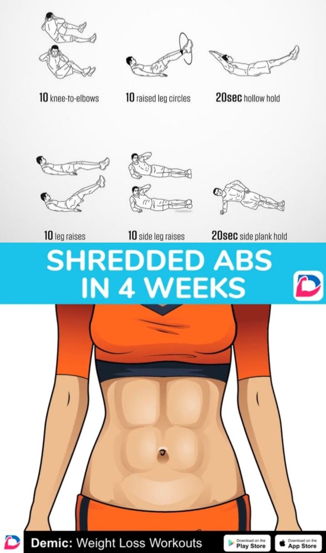 Shredded Abs In 4 Weeks #health #fitness #workout #exercise #motivation #abs #diet