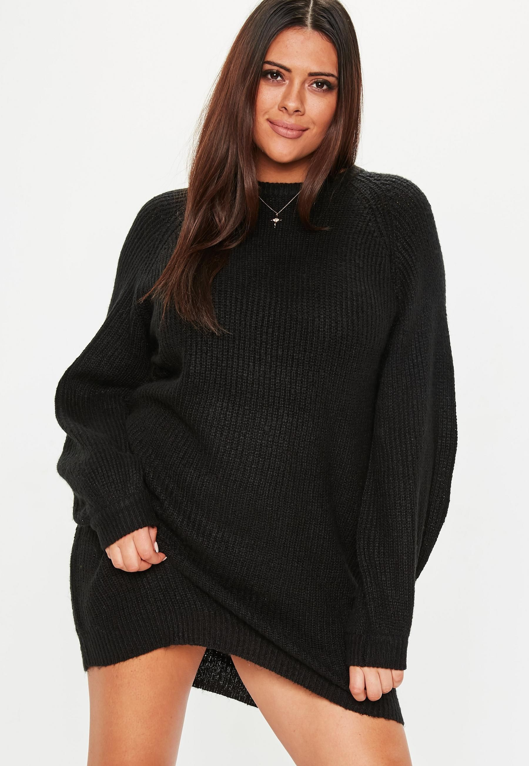 Plus Size Black Oversized Sweater Dress   Missguided in 2019 ...