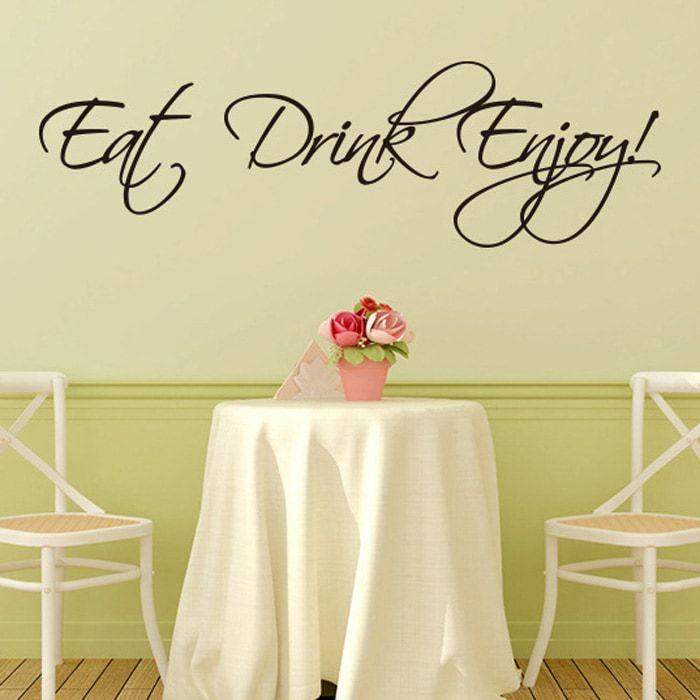 Stylish Eat Drink Enjoy Letters Pattern Wall Sticker For Livingroom ...