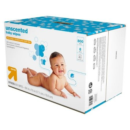 800 Count Toilet Up and Up Unscented Baby Wipes Refill Pack