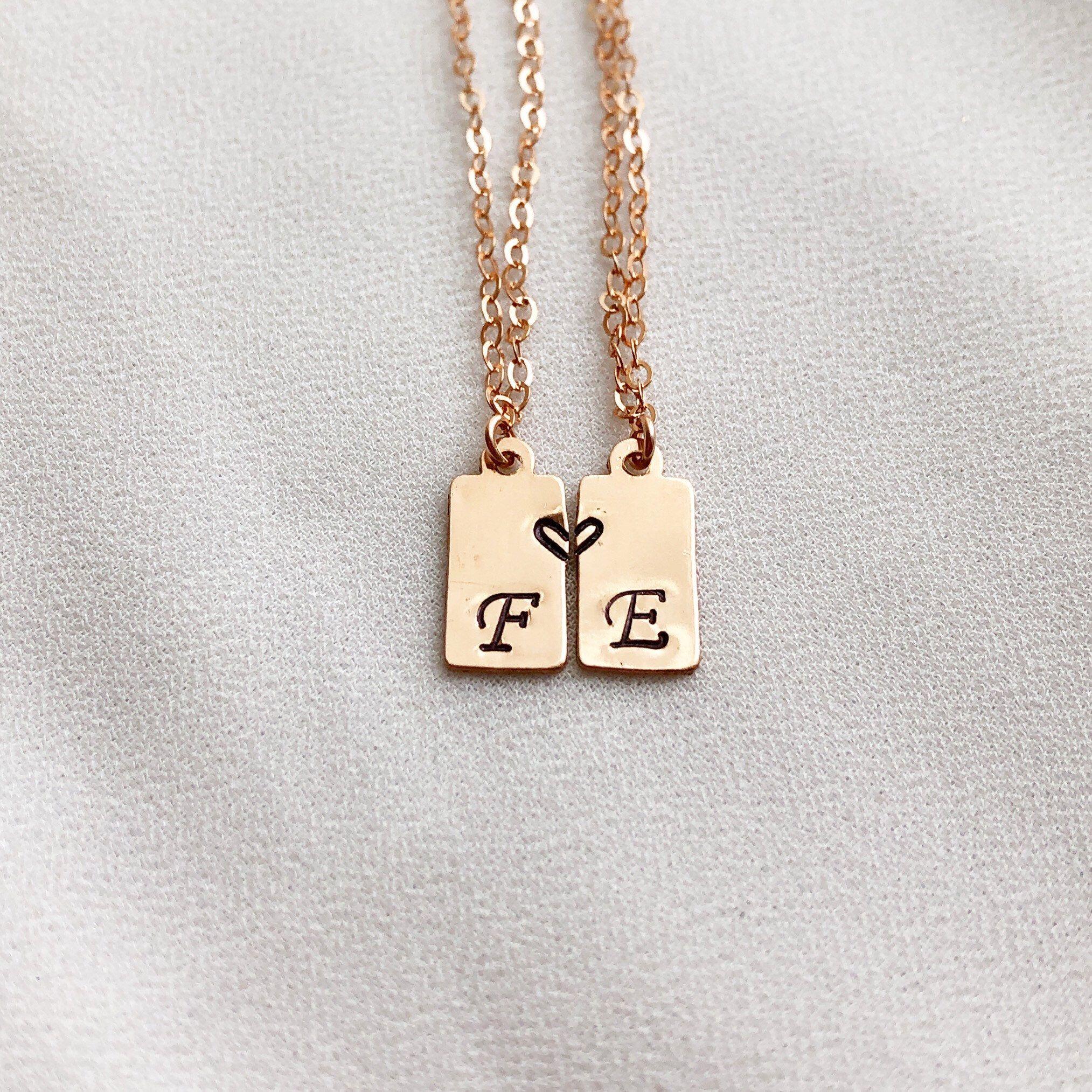 Personalized Friendship Necklace Set Best Friend Necklace For Etsy Best Friend Necklaces Friend Necklaces Friendship Necklaces