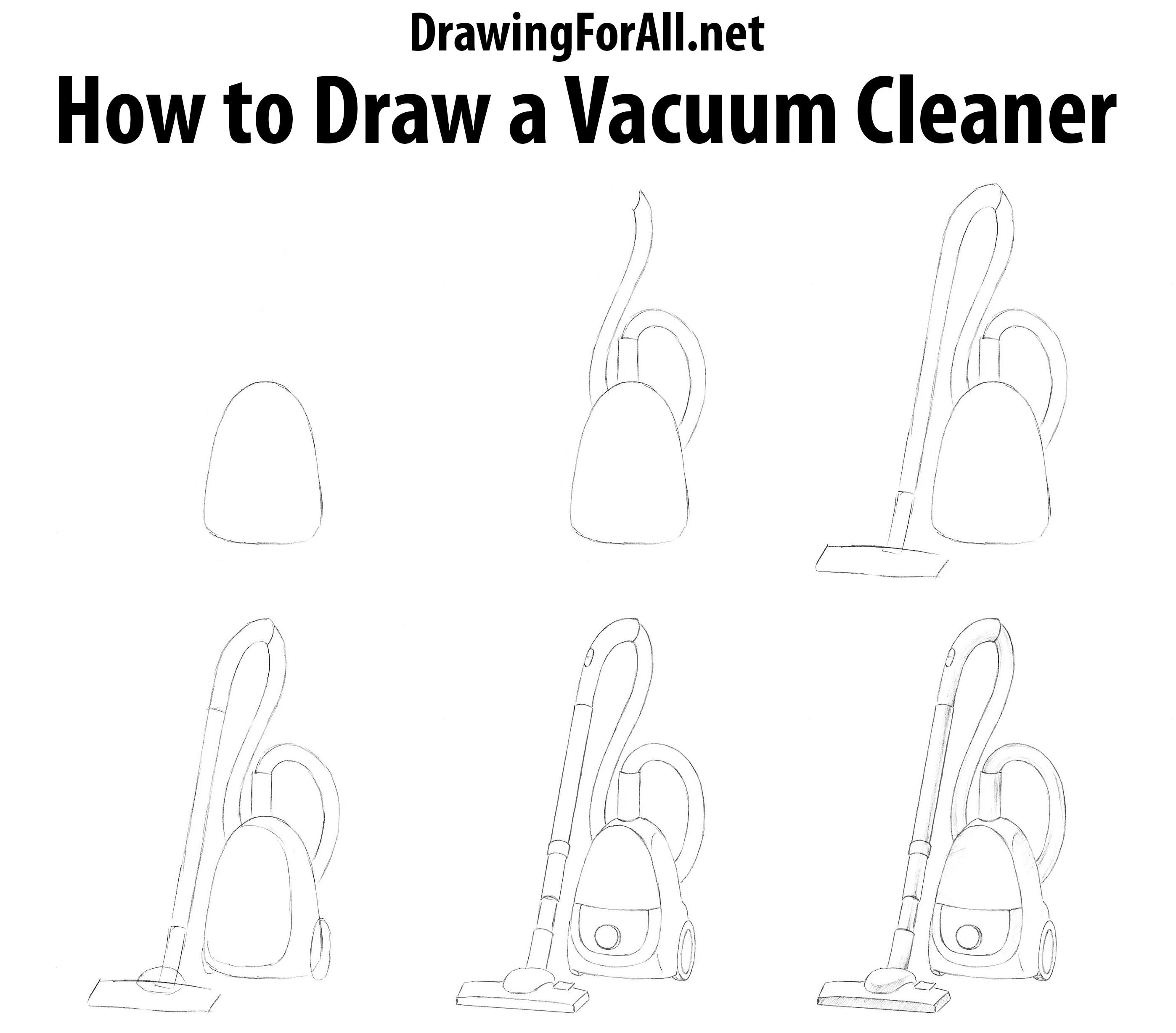 How To Draw A Vacuum Cleaner How To Draw Pinterest Drawings