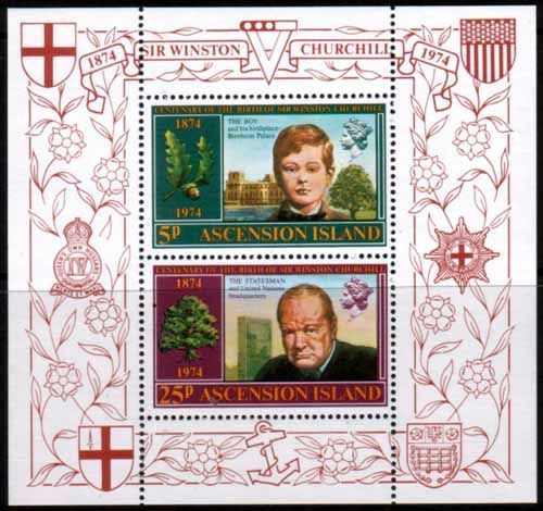 Ascension Islands 1974 Churchill Centenary Miniature Sheet Fine Mint SG MS 184 Scott 182a Other Ascension Island Stamps HERE