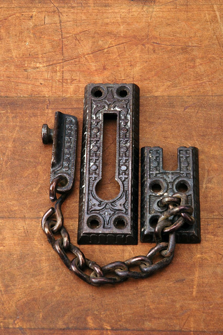 Antique Eastlake Victorian Door Hardware Security Chain Lock AH03281601