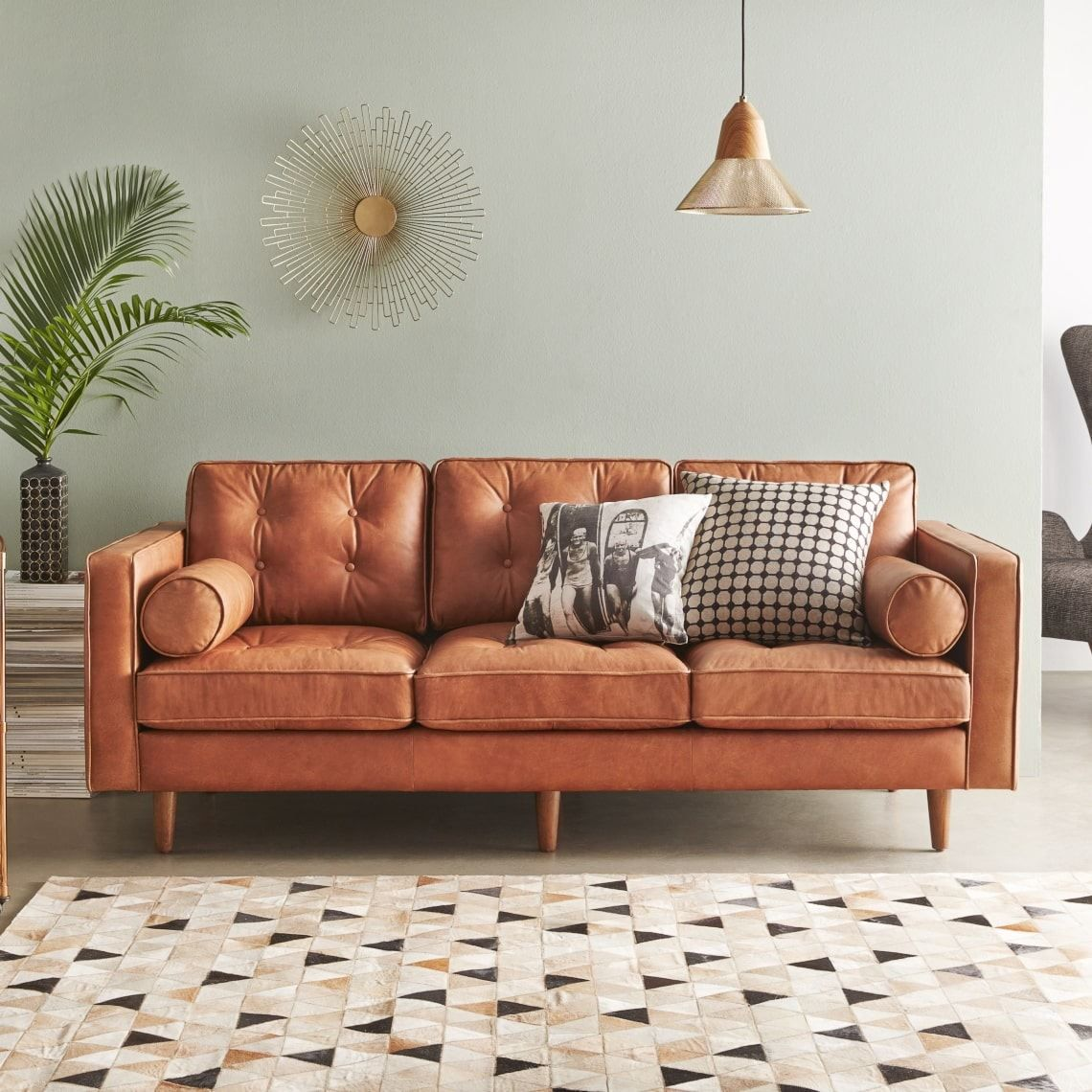 Caramel Sectional Sofa in Top Grain Italian Leather ...