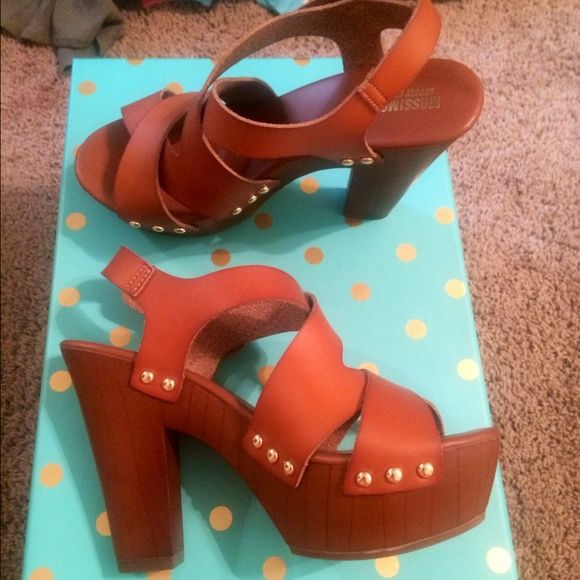 Brown leather Heeled wedges Worn once and you can't even tell! Size 7.5 true to size! Mossimo Supply Co. Shoes Wedges
