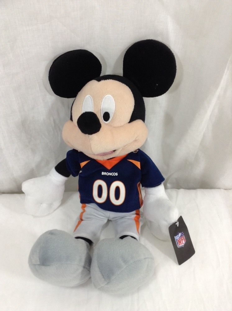 Mickey Mouse Denver Broncos Plush Doll Stuffed Animal Nfl Disney