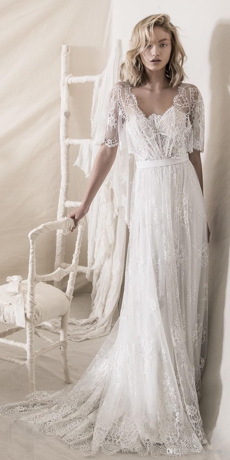 Romantic Bohemian Soft A Line Strapless Neckline Wedding