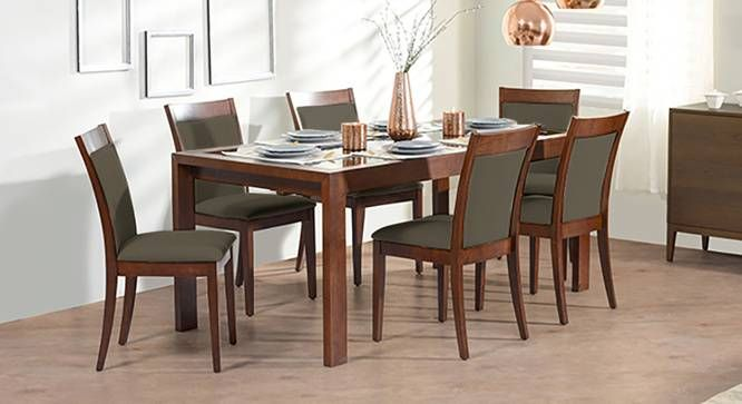 Wesley Persica Leatherette 6 Seater Glass Top Dining Table Set