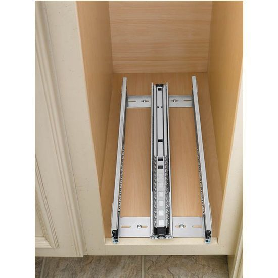Cabinet-Organizers - Adjustable Wood Pull-Out Organizers for Kitchen or Vanity Base Cabinet - Full Extension Tri-Slides - by Rev A Shelf | KitchenSource.com