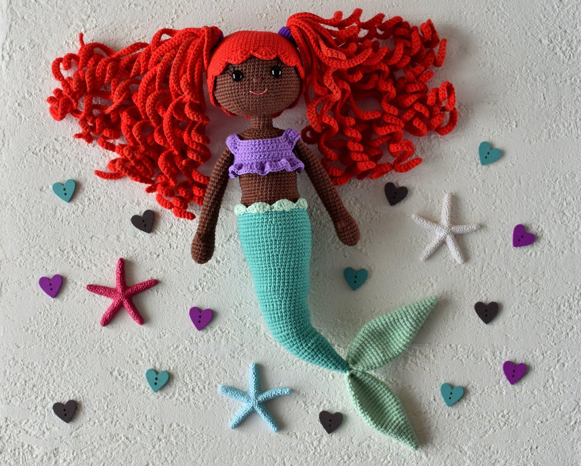 African American mermaid crochet doll toy / Mermaid