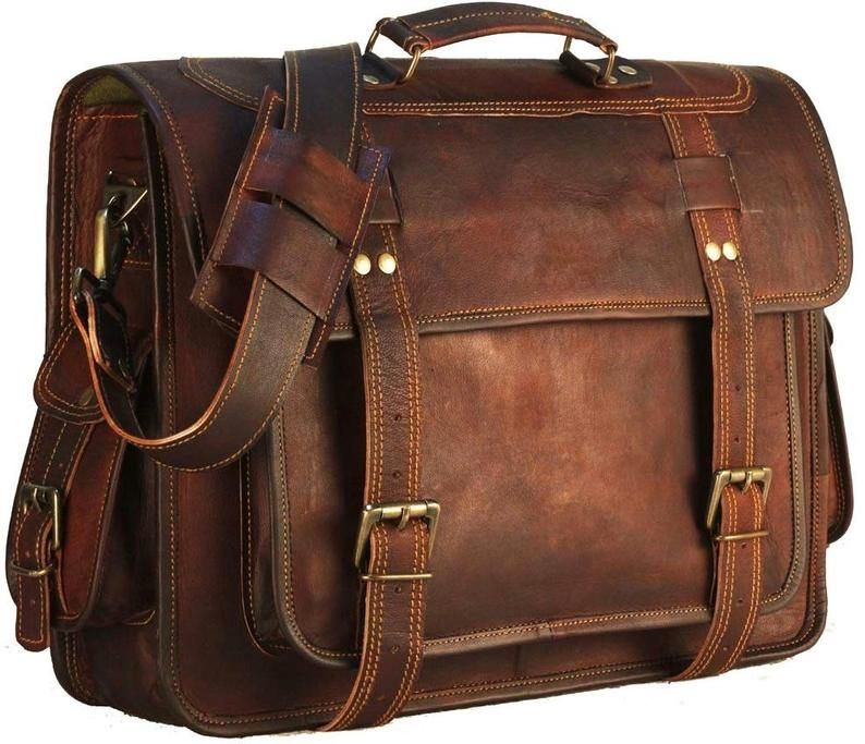 Handmade World Vintage Leather Executive Business Laptop Briefcase Bag For Men