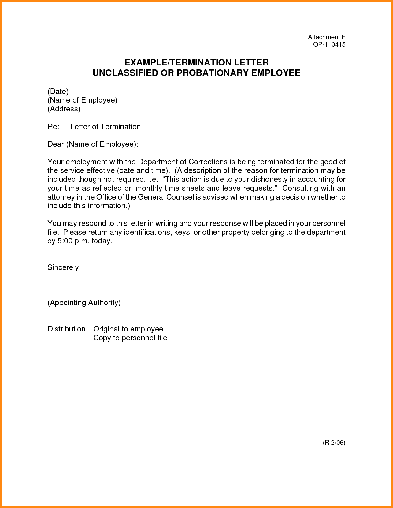 Doc Termination Employee Letter Free Sample Job Notice Employment