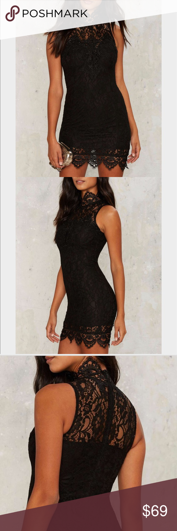 Rare London Bonding Experience Bodycon Dress Get tighter. The Bonding Experience Dress is made in a black stretch fabric, with a mini length, bodycon silhouette, and crochet lace trim. By Rare London. Nasty Gal Dresses Mini