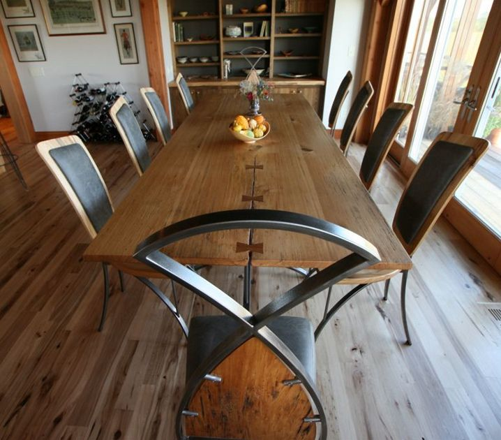 A Sleeper Board Dining Table, This Custom Piece Incorporates Reclaimed Wood,  Leather And Metal