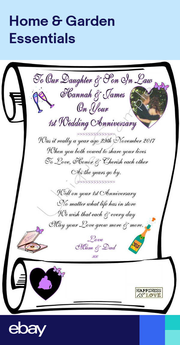 daughter  son in law 1st wedding anniversary personalised