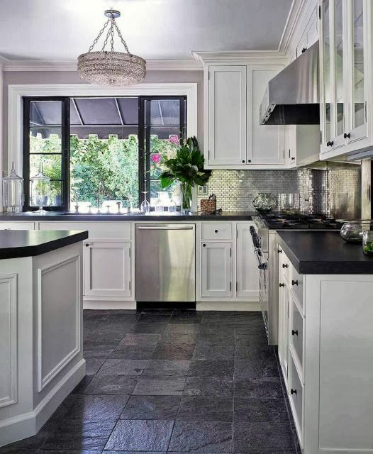 White Cabinets Dark Countertop Textural Backsplash Stainless