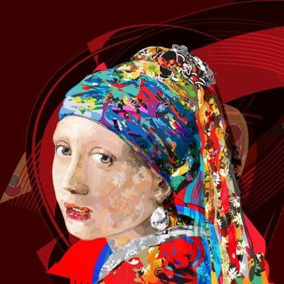 """The girl with a pearl earring FIVE"""" by Túlio Fagim, vector art based on Johannes Vermeer The Girl with a Pearl Earring, c.1665"""